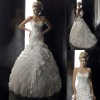 Embroidery Sweetheart Sequin Tiered Crumpled Floor Length Wedding Dress Bridal Gown