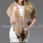 BG21184 Genuine Fox Fur Shawl with Fox Head OEM Wholesale/Retail