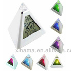 Multicolor Changing Led Night Light Triangle Pyramid Music Alarm Clock
