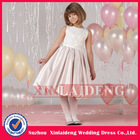 FGD004 beautiful pearl pink satin kid children flowergirl dress