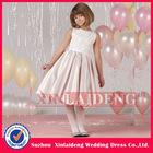 FGD004 beautiful pearl pink satin kid children flowergirl dress