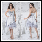 Real photo A-line strapless sweetheart asymmetrical sequins party cocktail dress