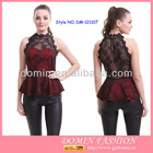 Lady's Fashion Tailored Top; Lace Peplum Top with High Neck