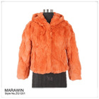 ZG1201 Rex rabbit fur hooded coat for 2012 womens fashion jacket