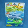 Hot sales blister card wind up swiming frog baby toy