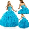 FG-051 Cute tiered tulle skirt little girl ball gown prom dresses