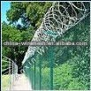 modern security fencing of barbed wire