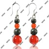 fashion jewelry black/red agate earring 6mm/8mm/10mm beads