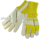 Cow Grain Leather Winter Working Gloves with Fleece Lining