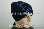 100% Acrylic Blue Striped Cheap Printing Applique Embroidery Fashion Men Winter Knitted Beanie Hat