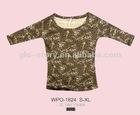 2012 womens fashion printed 3/4 sleeve tshirt