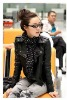 FY998122 Korea style woman handsome leather autumn jacket-black