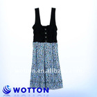 2011 lady fashion casual dress with buttons front and ruffle back