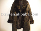 Stylish crocodile -embossed rabbit fur coat with rex fur collar and rex fur cuff