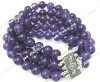 "5rows 7.5"" 8mm amethyst 925sterling clasp bracelet"