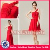 BDM203 cheap red short chiffon rose flower one strap bridesmaid costume