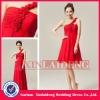 BDM203 cheap red short chiffon rose flower one strap bridesmaid costume