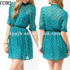 CC002 Ruffle Black Dot Blue Chiffon Daily Dress For Women