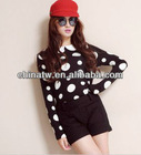 zc10043 Neck Design Women Cute polka dot Long Sleeve Cotton Blouse