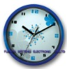 Blue decorative cartoon design plastic wall clock for promotion