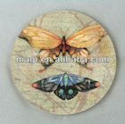 Vintage Round Couple Butterflys Coaster for Tableware