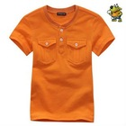 children's 100%cotton short sleeve casual tshirt with pocket