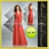 Long Chiffon V-neck Ruffle Bridesmaid Dress
