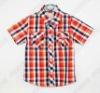 Hot sale boys shirt lapel short sleeve plaid