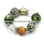 Olive green resin various beads bracelets