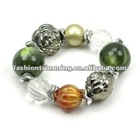 Olive green resin various beads bracelets