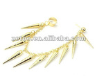 2012 Hot Sale Fashion New Style Personality Spikes Cone Punk ear cuffs Gold Earrings jewelry In Stock