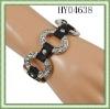Fashion bracelets/Rhinestone decorated /Button /Silver tone