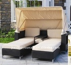 UNT-R-923 2011 new style outdoor rattan leisure sofa with footstool and tea table