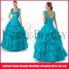 High-fashion blue satin diamond beaded cap sleeve prom dress ruffled