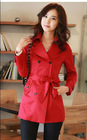 Long sleeve turnover collar lace lining woman coat