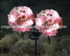 solar pink rose ball with plastic stake