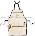 plain white aprons cotton High quality promotion apron set with various designs!