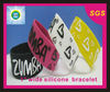 silk screen printed logo customized 1 inch wide silicone bracelet for students