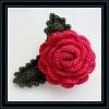 rainbow crochet flower with leaves,crochet hairclip