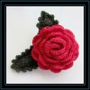 rainbow crochet flower with leaves,crochet hairclip