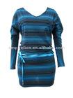 New Style Striped Design Beautiful Lady Fashion Dress