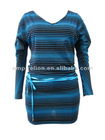 New Style Striped Design Beautiful Lady Fashion Dress