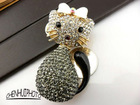 swarovski style cat key chain/car pendant/bag ornament