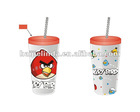 bird design hard plastic cups with lid and straws