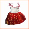 children's red braces skirt