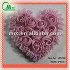 Newest design pink sweet chiffon fabric heart patch appliques for kids clothing clothing - WD108