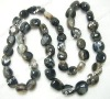 "14*16mm 15"" anomalistic black agate loose strand"