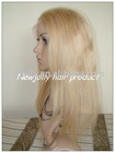 Light color full lace wig, white blonde, 100% human hair