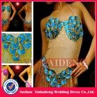 CBD001 cheap sexy blue sequin corset brazilian dance show girl costume
