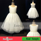 2012 Selling best long lovely white scalloped flower girl dresses